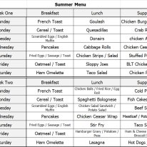 Summer Menu - Week 1 & 2