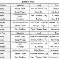 Summer Menu - Week 3 & 4
