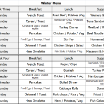 Winter Menu - Week 3 & 4
